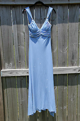 Ladies Womens Party Prom Dress Formal Long Cocktail Ball Gown Sparkle Blue Small