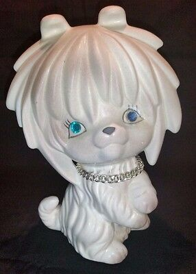 Maltese Puppy Dog Money Bank with Stopper by Lego 1950-60's NEAR MINT VERY RARE