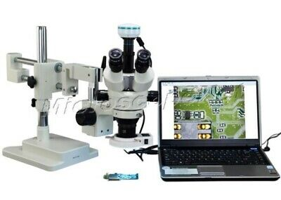 2X-90X Stereo Zoom Dual-bar Boom Stand Microscope+54 LED Light+2.0MP USB Camera