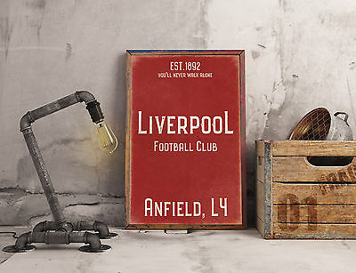 Anfield Liverpool FC Red A3 Picture Art Poster Retro Vintage Style Print