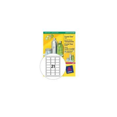 L7782-25 Avery Crystal Clear Labels Laser Durable 63.5x38.1mm [525 Labels]