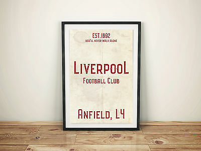 Anfield Liverpool FC White A4 Picture Art Poster Retro Vintage Style Print