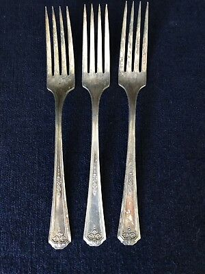 Tudor Plate Queen Bess Forks Oneida Community 1924 Lot Of 3