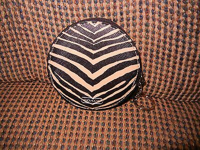 COACH Zebra print coin change purse with key ring