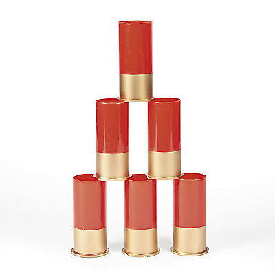 6 RED shotgun SHELL CASING shot glass glasses REDNECK hunter BIRTHDAY PARTY
