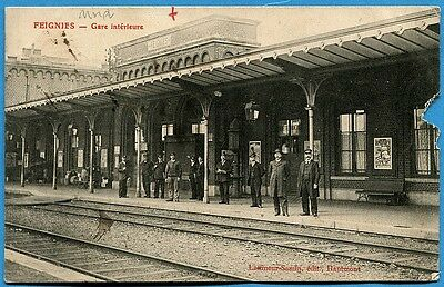 CPA: FEIGNIES - Gare Intérieure
