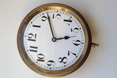 VINTAGE 60mm SWISS MADE MANUAL WIND CAR CLOCK FOR SPARES OR REPAIRS BALANCE OK