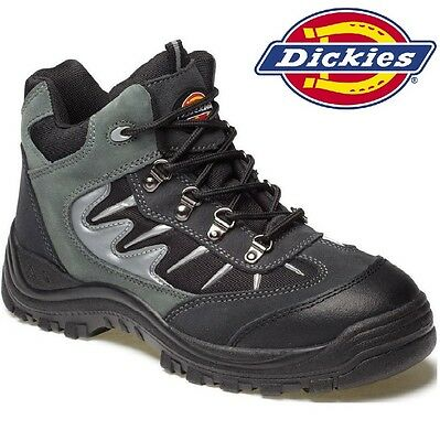 Mens DICKIES Leather Lightweight Safety Steel Toe Cap Hiker Work Boots Sz 6-12