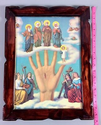 vintage Mano Poderosa All Powerful Hand The Five Persons Mexican religious art