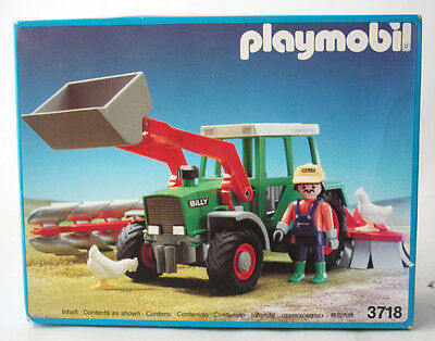 Very Rare Vintage 1992 Playmobil 3718 Farm Tractor Loader New Sealed !