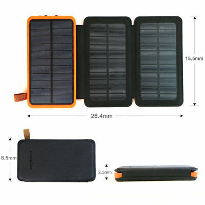 New Solar Power Bank 4 Solar Panels Dual USB External Battery Charger for Phone