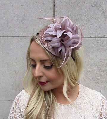 Nude Brown Beige Feather Fascinator Races Wedding Headband Hair Hat Flower 3612