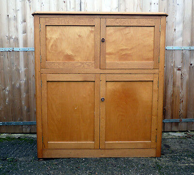 Vintage Renovated Wooden School Cupboard