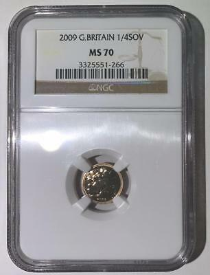 2009 Great Britain Gold 1/4 Sovereign Coin - NGC MS70