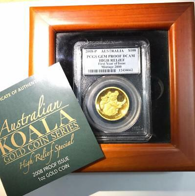 2008-P 1 oz. Gold Australia $100 Koala High Relief - PCGS Gem Proof DCAM