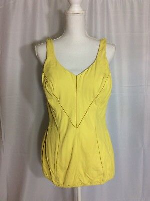 True Vintage 50s 60s Catalina One Piece Cotton Swimsuit Pin Up Romper 16 XL