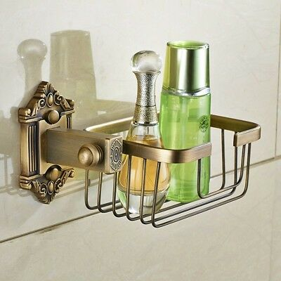 Vintage Toilet Paper Roll Holder Antique BRASS Basket Shelf For Bathroom