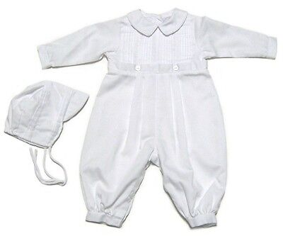 Petit Ami Boys Christening Romper and Hat Infant White Tucked Long Sleeve NWT