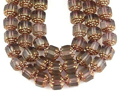 25pcs Cathedral Grey Matte Gold Fire Polished Faceted Loose Glass Beads 8mm