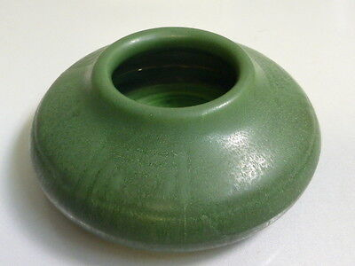 Arts & Crafts  Hampshire Pottery Matte Green Low Vase with design