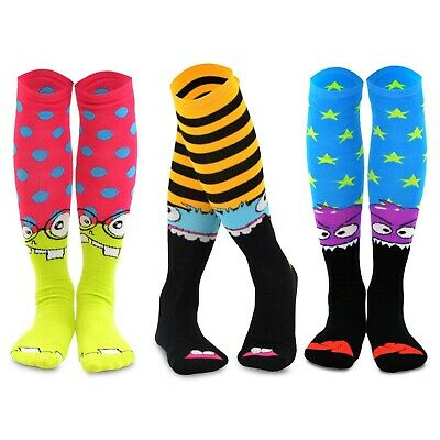 TeeHee Novelty Cotton Knee High Fun Socks 3-Pack for Junior and Women (Monster)