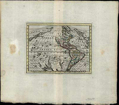 America New World California Island Myth c.1770 old antique color map small