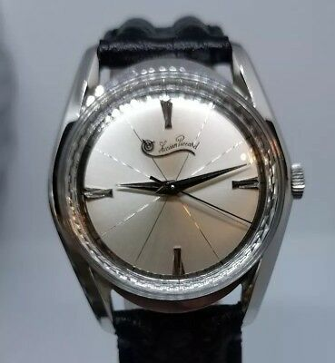 New Old Stock Men's Lucien Piccard Stainless Steel Manual Wind Watch! 1960's!!!