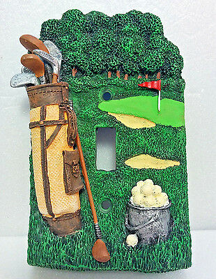 ~Single Wall Switch Plate~Sculpted 3D Golf Design~Vintage Hand Painted~1994~NEW!