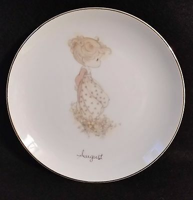 "1983 Vtg Enesco Precious Moments ""August is a Wild Rose"" Plate - Excellent"