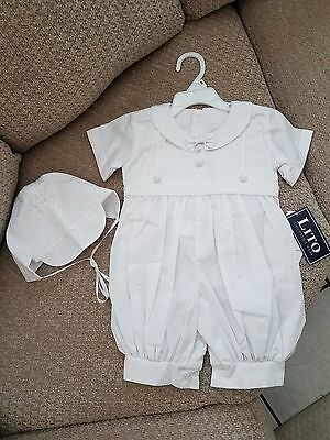 Lito Children's Wear White Baptism Christening Special Occasion Outfit w/Cap M