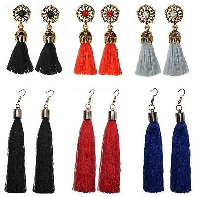 Fashion Vintage Boho Bohemian Tassel Drop Dangle Crystal Stud Earrings