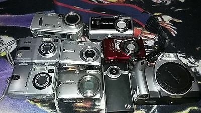 FOR PARTS ONLY LOT OF 9 DIGITAL CAMERAS canon sony kodak nikon camera cyber shot