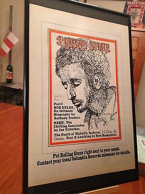 Big 11X17 Framed Rolling Stone Magazine (Bob Dylan Cover) Lp Album Cd Promo Ad