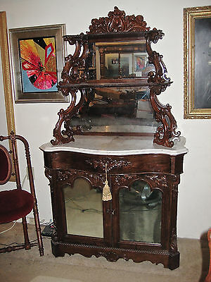 Victorian Carved Rosewood Rococo Revival Marble Top Etagere ca.1850
