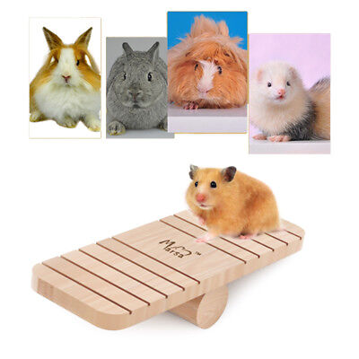 Wooden Chewing Grinding Seesaw Cage House Hide Play Toy for Hamster Rat Mouse