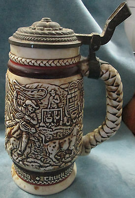 Vintage Avon Stein Made In Brazil Cattle Drive Stage Coach Roping Chuck Wagon