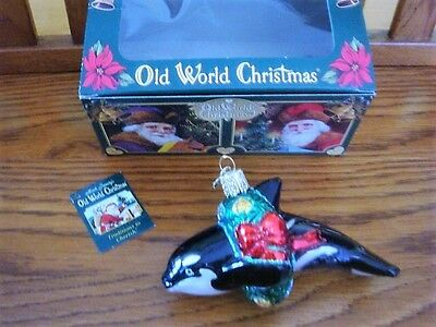 Vintage Old World Christmas Blown Glass Orca Whale Dolphin Ornament  - New