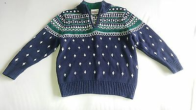 Hannah Andersson  Sweater Size110  US 5-6 Boys Girls Navy Nordic Print