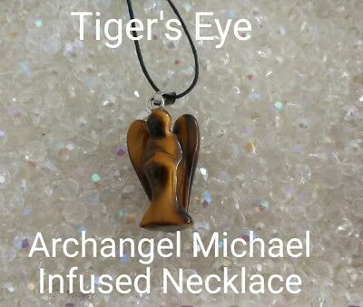 00621 Tiger's Eye Archangel Michael Infused Necklace Doreen Virtue Certified Pra