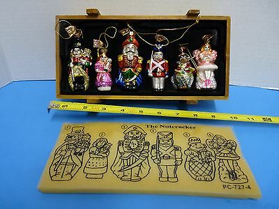 Thomas Pacconi Classics The Nutcracker 6 Pc. Set Orniment Glass Blown Wood Crate