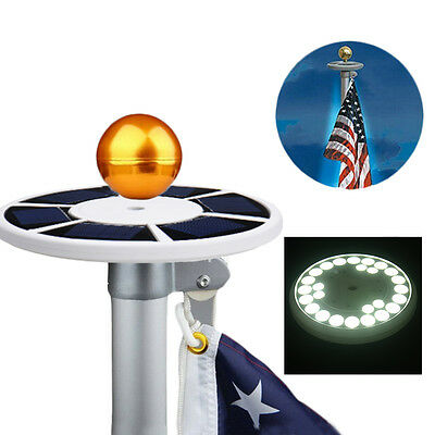 Solar Upgraded Flagpole Light 26LEDs Top Mount For yard Camping Home Decor NEW