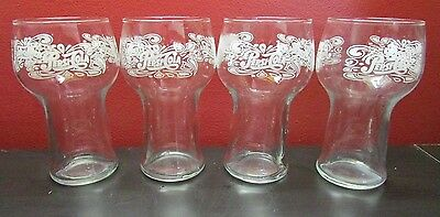 4 Vintage1970s Pepsi Cola Fountain Drinking Glasses White Lettering 3 Sided Logo