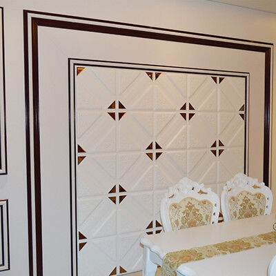 3D Leather-Like Carved Mirror Wall Panels DIY Self-adhesive PE Foam Wall Sticker