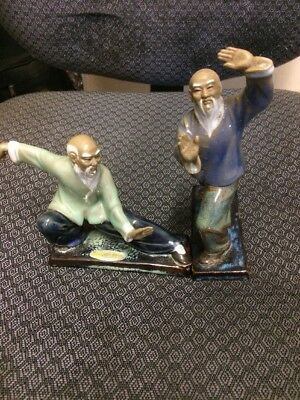 "Tai Chi Chinese Porcelain Figurines 6"" Set Of 2"