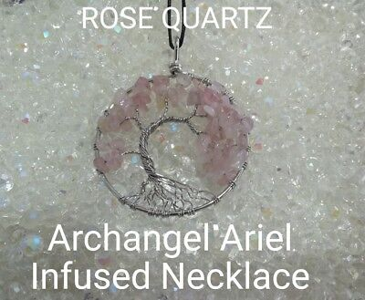 Code 628 Rose Quartz Archangel Ariel Infused Necklace Doreen Virtue Certified