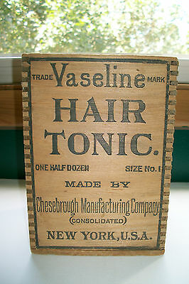 Antique Wooden Vaseline Hair Tonic Box Chesebrough Manufacturing Co. NY USA