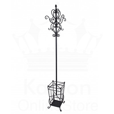 French Provincial Black Metal Coat Hat Hanger Umbrella Stand Home Decor Vintage