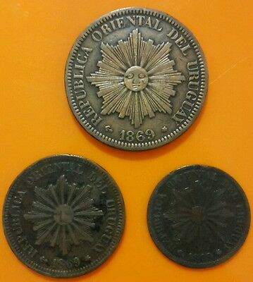 Uruguay 1869 lot of 3 coins .