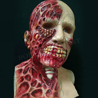 Halloween Decors Zombie Ghost Full Face Mask Scary Rot Bleeding Costume Props
