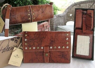 Patricia Nash Leather Map Wristlet Case Wallet  Luggage Travel Id Tag Dust Bag